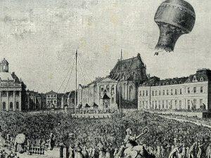 Aufstieg der Montgolfiere in Versailles, 19.September 1783. Geschichte